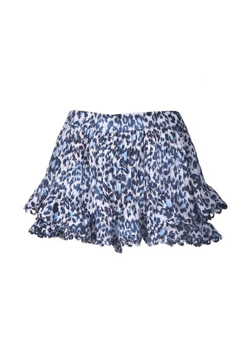 Shorts con balze in cotone animal print blu PNK | Shorts | P04ANIMAL PRINT