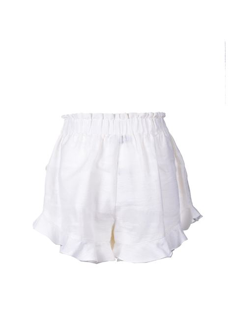 Shorts con balze in cotone bianco PNK | Shorts | P08OFF WHITE