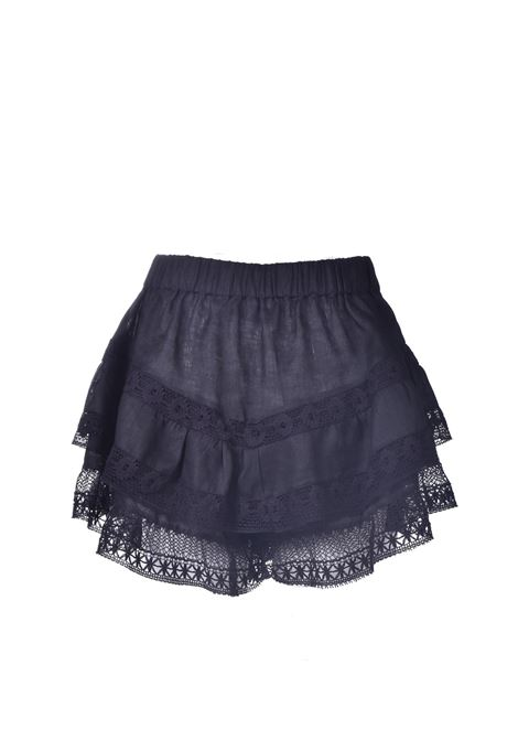 Shorts con balze in pizzo e in cotone nero PNK | Shorts | P11BLACK
