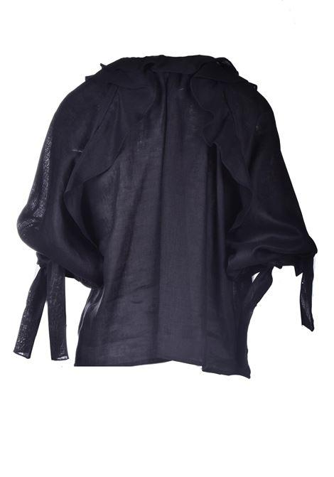 Blusa in lino nero con plissè PNK | Bluse | T08BLACK