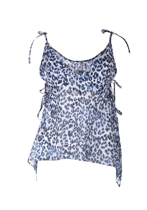 Top con bretelline in cotone animal print blue PNK | Tops | T10ANIMAL PRINT