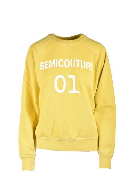 Yellow crewneck sweatshirt with white printed logo SEMICOUTURE | Sweatshirt | Y1SJ21B28