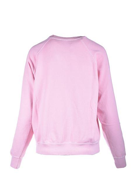 Felpa girocollo rosa con logo stampato in bianco SEMICOUTURE | Felpe | Y1SJ21H04