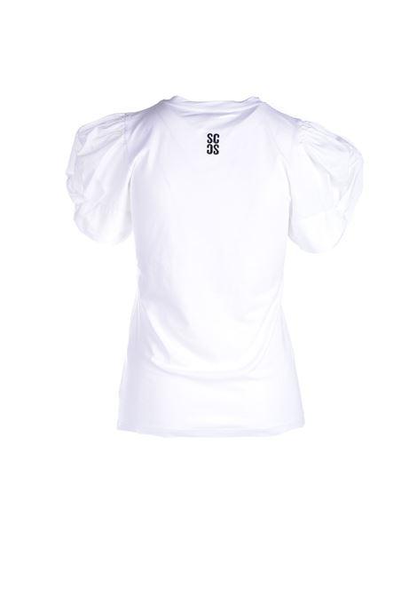 T-shirt bianca con maniche a sbuffo SEMICOUTURE | Top & T-shirt | Y1SK10A01