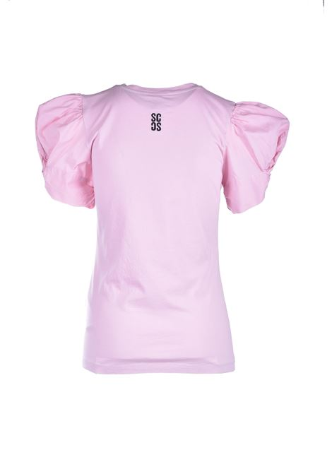 T-shirt rosa con maniche a sbuffo SEMICOUTURE | Top & T-shirt | Y1SK10H04