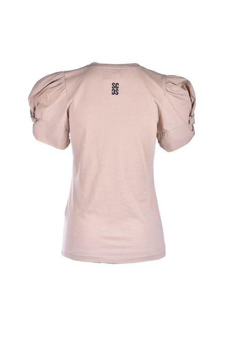 T-shirt beige con maniche a sbuffo SEMICOUTURE | Top & T-shirt | Y1SK10V62