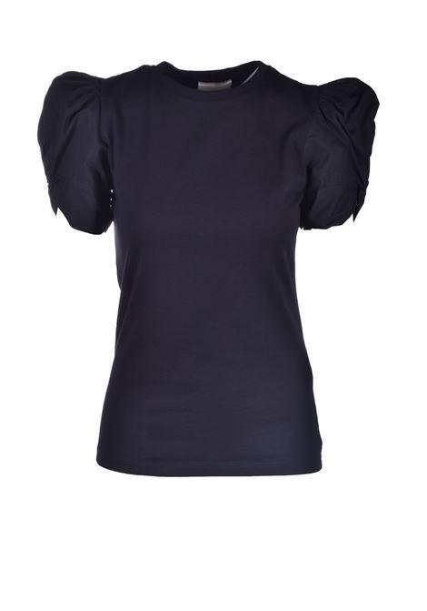 T-shirt nera con maniche a sbuffo SEMICOUTURE | Top & T-shirt | Y1SK10Y69