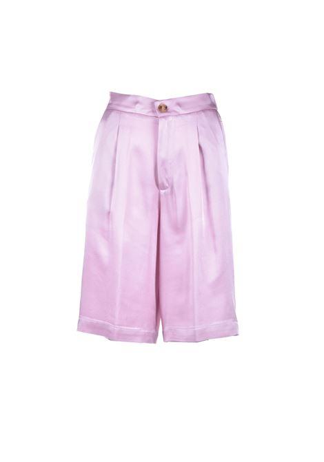 Classic knee-high bermuda shorts in pink satin SEMICOUTURE | Bermuda | Y1SM03H04