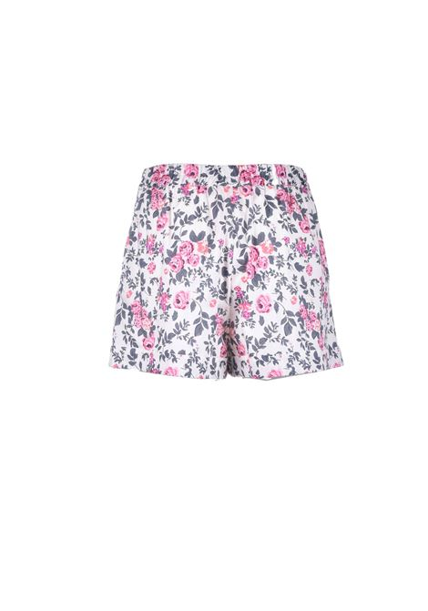Short corto in cotone floreale effetto raso SEMICOUTURE | Shorts | Y1SR01FAN54