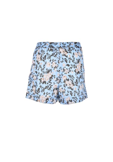 Short corto in cotone floreale effetto raso SEMICOUTURE | Shorts | Y1SR01FAN55