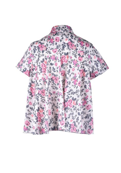 Camicia over in cotone floreale effetto raso SEMICOUTURE | Camicie | Y1SR02FAN54