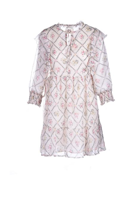 Voile crewneck dress with floral patterned rouches SEMICOUTURE |  | Y1ST0325VAR