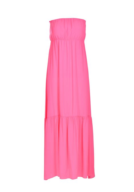 Long bandeau dress in crepe in candy pink SEMICOUTURE |  | Y1SU11G21