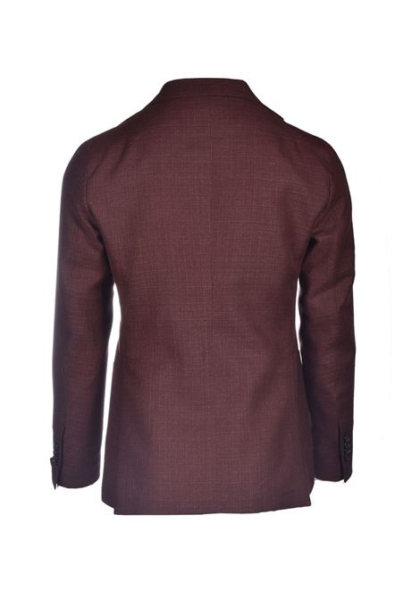 Two-button jacket in cool wool and dark brown linen TAGLIATORE | Blazers | 1SMC22K 12UEG346M1313
