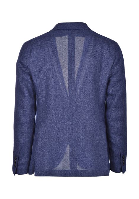 Two-button blazer in fresh virgin wool and blue linen TAGLIATORE | Blazers | 1SMC22K 47UEG083I3233