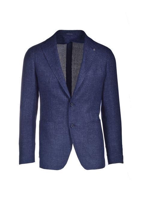 Two-button blazer in fresh virgin wool and blue linen TAGLIATORE | Blazers | 1SMC22K 47UEG083I3233