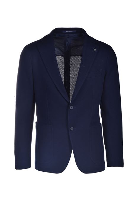 Two-button blazer in dark blue cotton jersey TAGLIATORE | Blazers | 1SMC22K 57UEJ172B3105