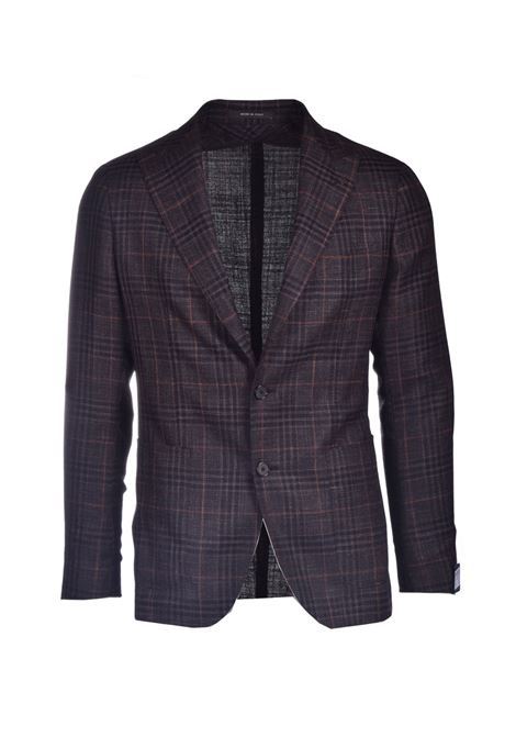 Two-button blazer in black check silk and linen TAGLIATORE | Blazers | 1SMC26K 52WEG067M1024