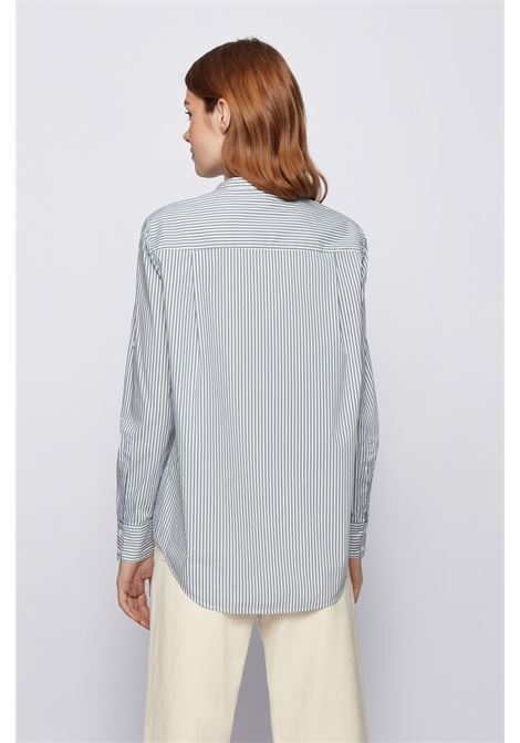Relaxed fit striped blouse in a stretch cotton blend BOSS | Blouses | 50437147330
