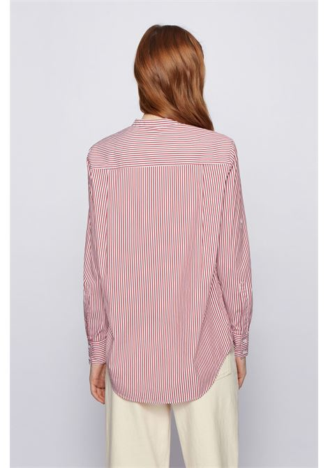 Relaxed fit striped blouse in a stretch cotton blend BOSS | Blouses | 50437147618