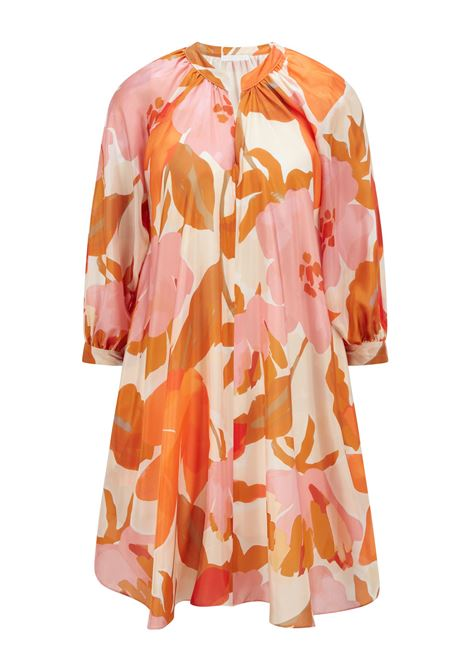 Silk dress with all-over print and stand-up collar BOSS |  | 50447645962