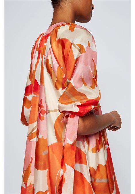 Vestito in seta con stampa all-over e colletto rialzato BOSS | Vestiti | 50447645962