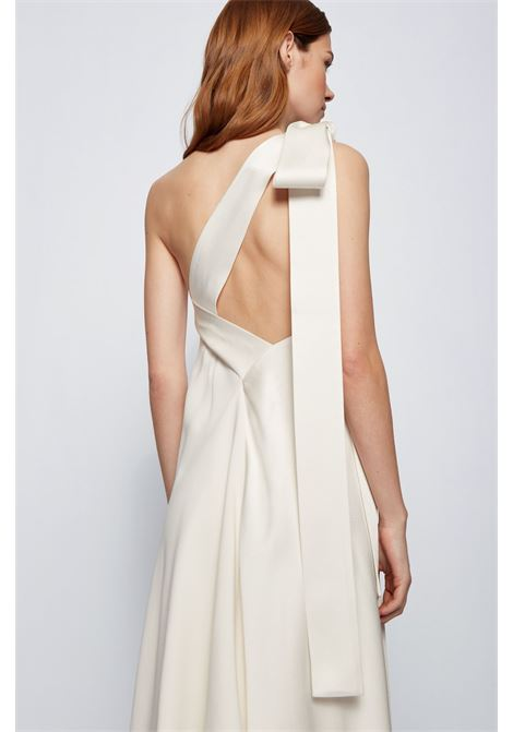 One-shoulder dress in crinkled crêpe with bow on the neck BOSS |  | 50453476118