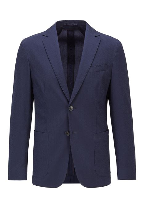 Slim fit jacket in seersucker cotton blend BOSS | Blazers | 50453732402