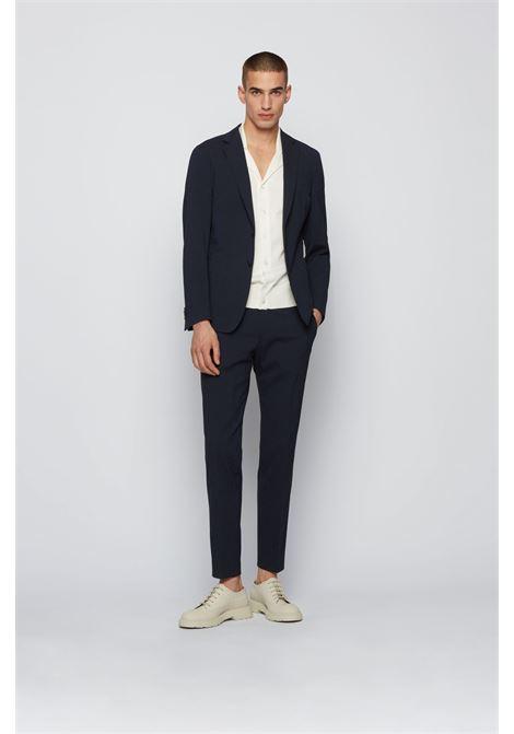 Slim fit trousers in seersucker cotton blend BOSS | Pants | 50453742402