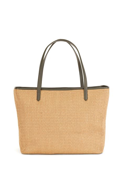 Raffia shopper bag with leather pocket and zip puller BOSS | Bags | 50454829118