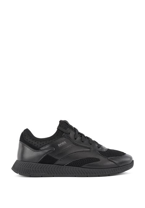 Hybrid runner-style sneakers in leather BOSS | Sneakers | 50455539001