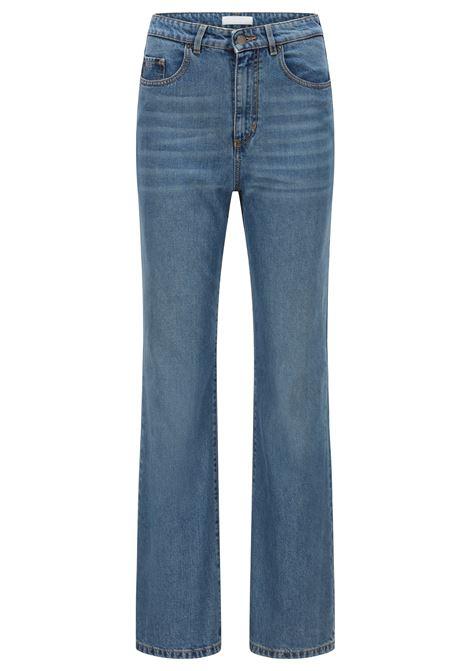Regular fit wide leg jeans in comfortable blue stretch denim BOSS | Jeans | 50455783425