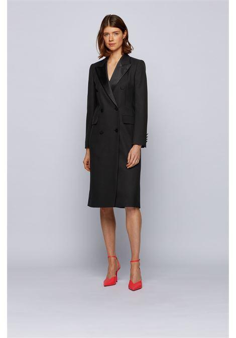 Cappotto lungo doppio petto in lana con revers in seta BOSS | Cappotti | 50441981001