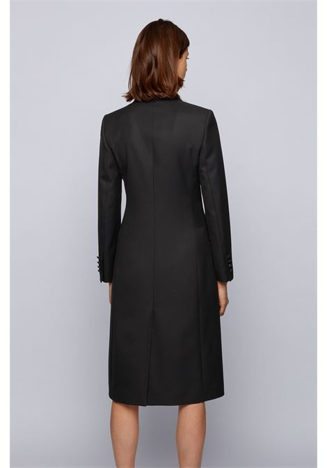 Long double-breasted coat in wool with silk lapels BOSS | Coat | 50441981001