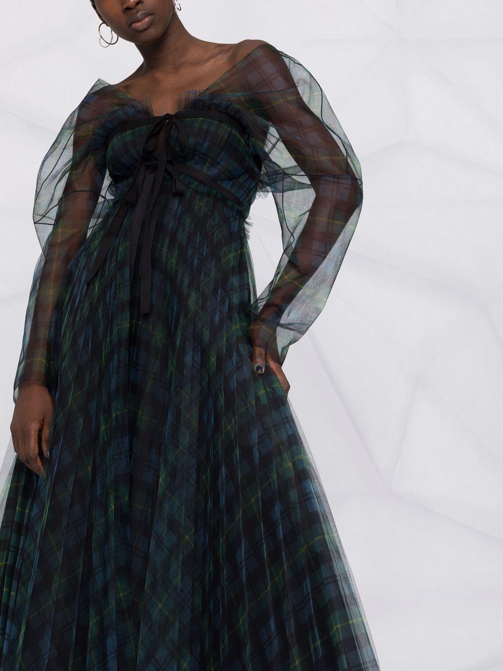 abito lungo manica lunga in tulle fantasia tartan PHILOSOPHY di LORENZO SERAFINI | Abito | A043457151362