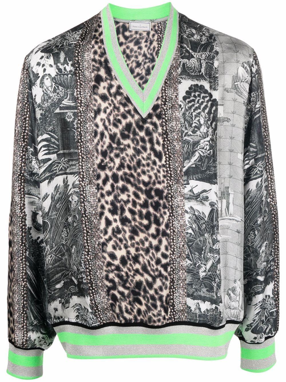 maglia scollo a V in seta PIERRE LOUIS MASCIA | Felpa | ALOE/S10951121770