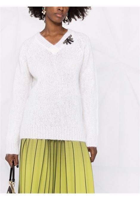 maglia scollo a V con spilla ERDEM | Maglia | 8280WMKWHITE