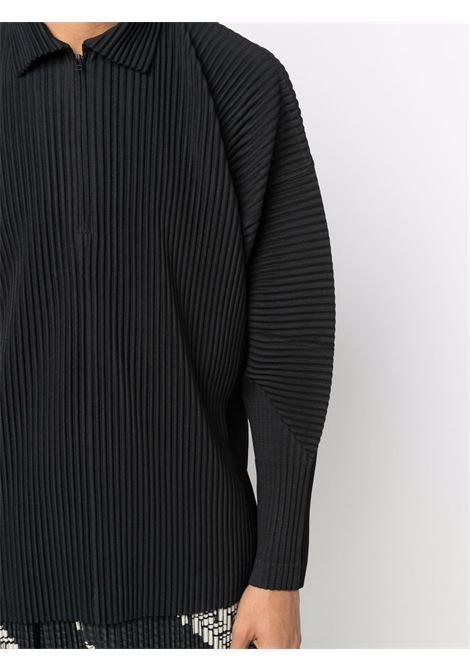 Polo con zip in tessuto plissé HOMME PLISSE   Polo   HP18JM12415