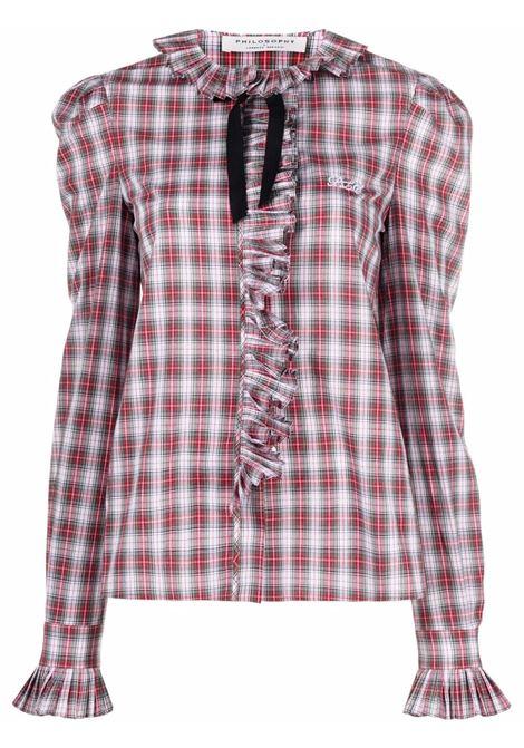 camicia  scozzese con rouches PHILOSOPHY di LORENZO SERAFINI | Camicia | V021657221002