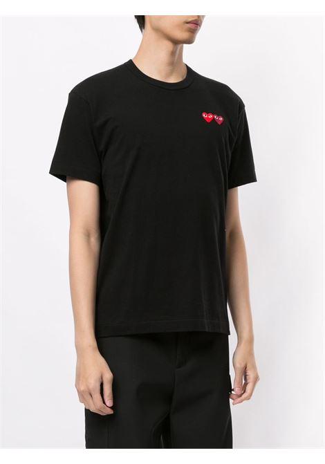 t-shirt manica corta con doppio logo cuore PLAY COMME DES GARCONS | T-shirt | P1T2261