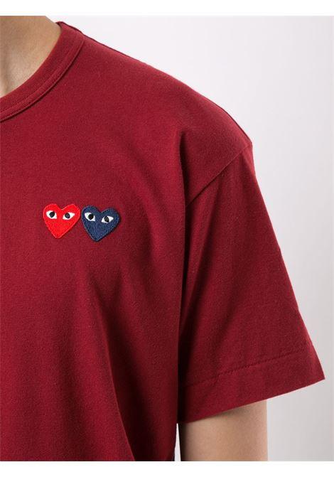 t-shirt manica corta con doppio logo cuore PLAY COMME DES GARCONS | T-shirt | P1T2264