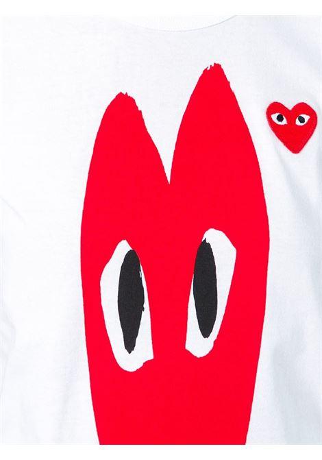 T-shirt con stampa e applicazione cuore PLAY COMME DES GARCONS | Maglia | P1T2231