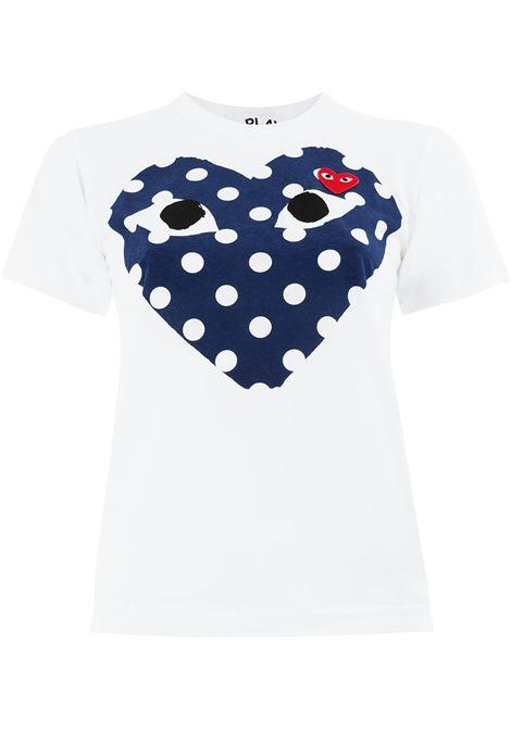 T-shirt con stampa e applicazione cuore PLAY COMME DES GARCONS | Maglia | P1T2331