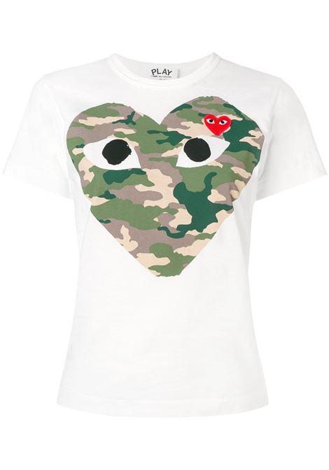 T-shirt con stampa e applicazione cuore PLAY COMME DES GARCONS | Maglia | P1T2411