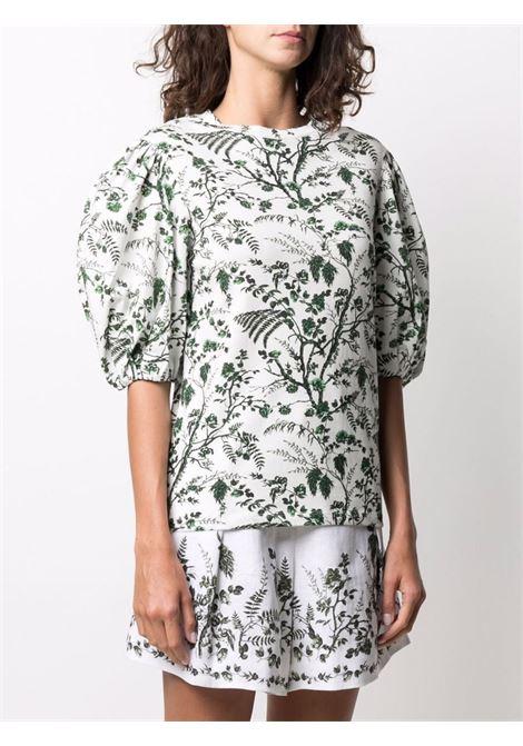 t-shirt girocollo con mezza manica e stampa floreale ERDEM | Top | 50014WFTSWHITE/GREEN