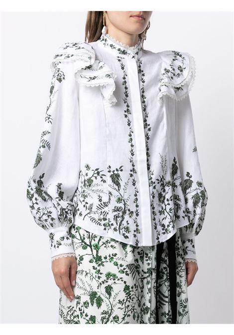 camicia con volant e stampa floreale ERDEM | Camicia | 5902WFLWHITE/GREEN