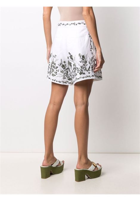 shorts con pences in lino e stampa floreale ERDEM | Shorts | 6247WFLWHITE/GREEN
