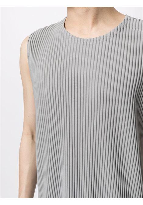 t-shirt smanicata girocollo in tessuto plissé HOMME PLISSE | Maglia | HP16JK11613