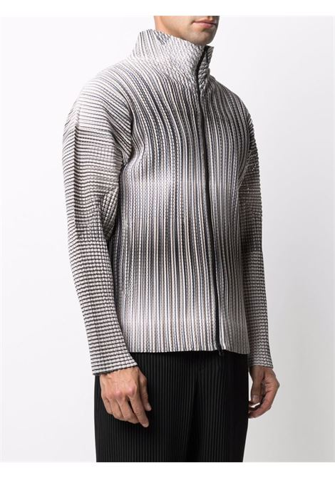 cardigan collo alto con zip in tessuto plissé traforato HOMME PLISSE | Blouson | HP16JL21712