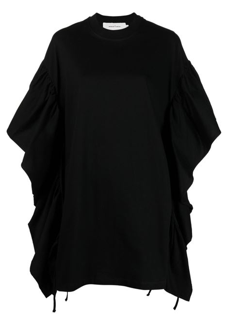 abito in cotone manica corta con rouches